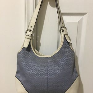Blue and White Authentic Coach Shoulder Bag